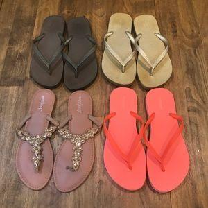 Shoes - Lot of 4 Flip Flops Styles gold orange jewel brown